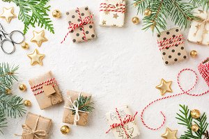 Wrapped Christmas gift boxes, white