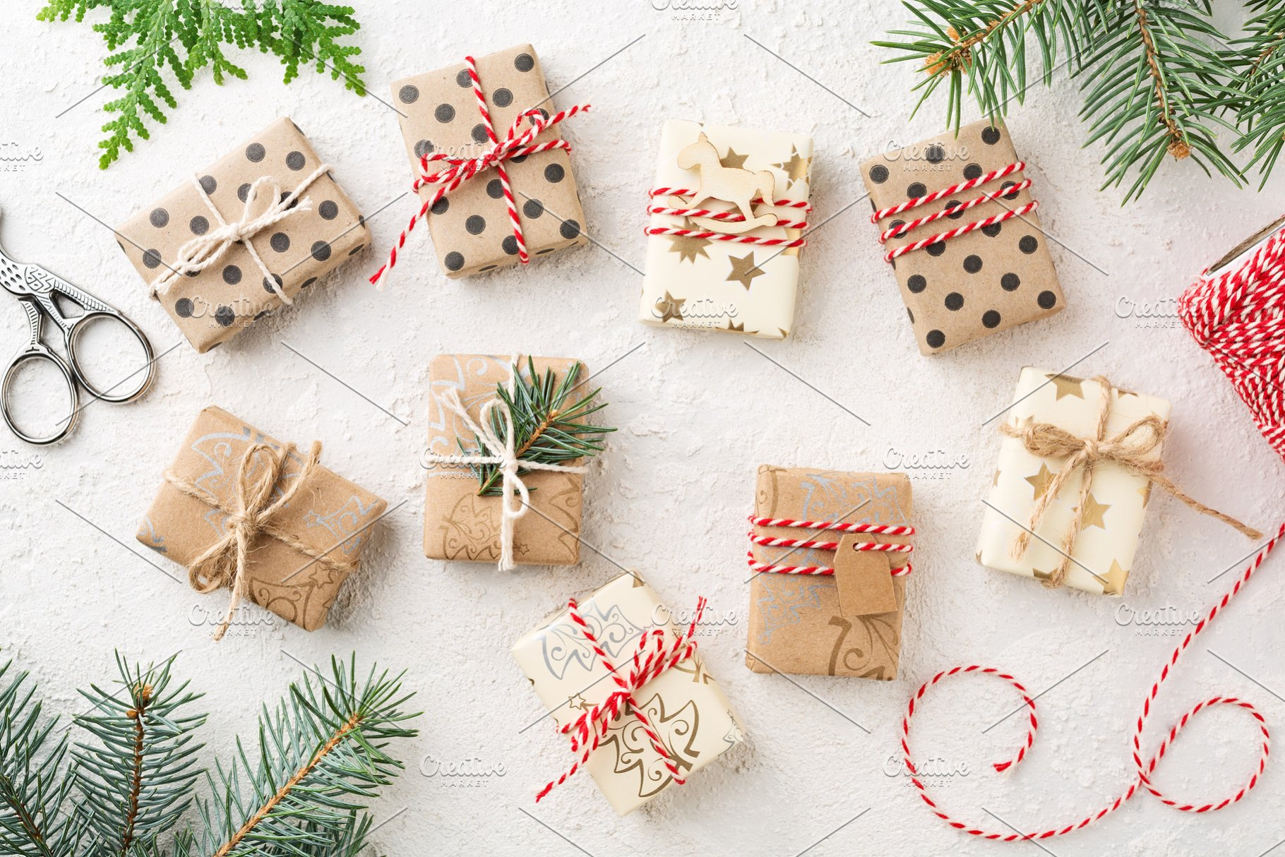 Many Wrapped Christmas Gift Boxes