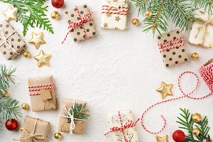 Decorated Christmas gift boxes frame