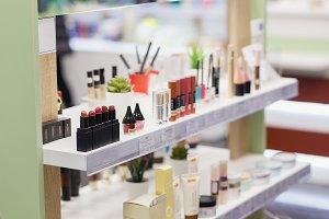 Mascara, lipsticks testers and skin