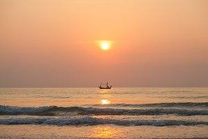 Morning fishing boat