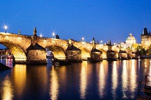 Charles Bridge in Prague at night