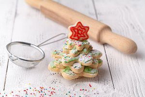 Christmas cookie on a wooden backgro