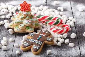 Cookies in the shape of a Christmas