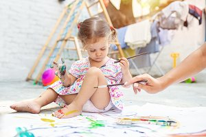 Child Girl Drawing Picture Outdoors