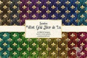 Velvet Gold Fleur de Lis Textures