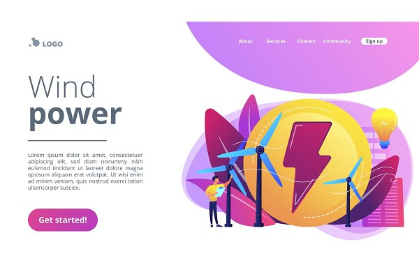 Wind power concept landing page.