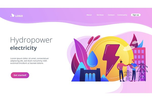 Hydropower concept landing page.