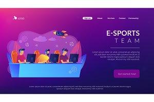 E-sport team concept landing page.