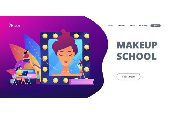 Makeup courses concept landing page…
