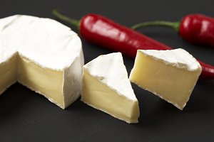 Cheese camembert or brie with chili