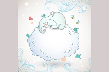 Cute elephant, sleeping on the cloud