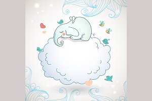 Cute elephant, sleeping on the cloud