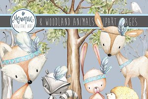 Boys Woodland Animals Clipart