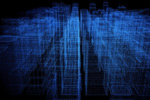 Digital abstract city made of