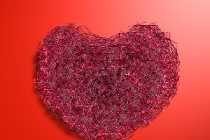 polygonal red heart of the particles