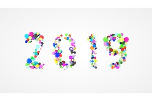 Happy New year 2019 word lettering