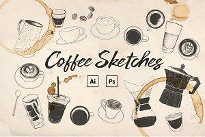 Hand-drawn Coffee Sketches PSD/Ai ☕