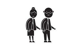 Old couple black vector concept icon