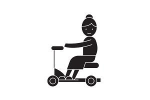 Old woman on scooter black vector