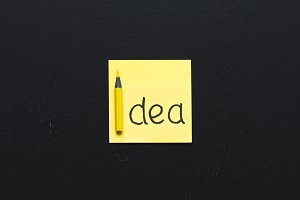 top view of 'idea' word written on y