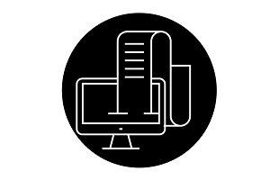 Online blog, journalist black vector