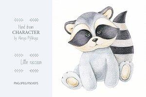 Little raccoon-pencils illustration