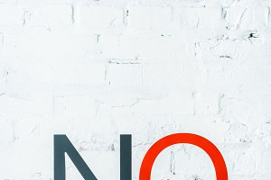 """""""no"""" lettering with decorative black"""