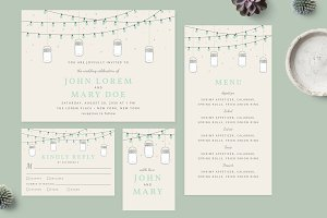 Boho Wedding Invitation Set