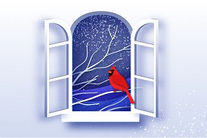 Red Cardinal in paper cut style