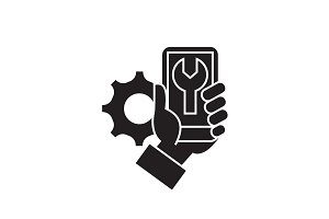 Phone settings black vector concept