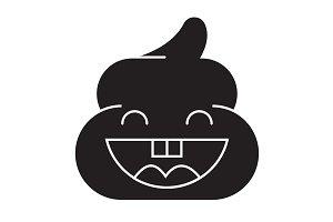 Pile of poo emoji black vector