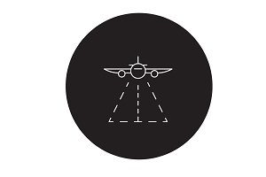 Plane landing black vector concept