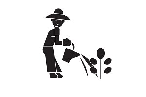 Plant care black vector concept icon