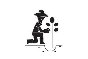 Planting tree black vector concept