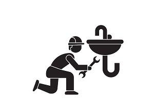 Plumbing maintenance black vector