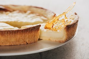 close-up view of delicious flan cake