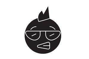 Punk emoji black vector concept icon