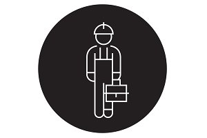 Repair man black vector concept icon