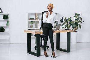 happy african american businesswoman
