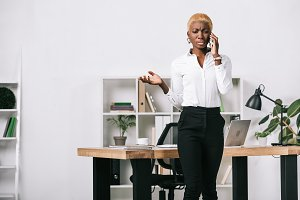 upset african american businesswoman
