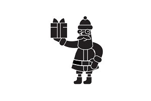 Santa claus with a gift black vector