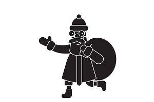 Santa claus with a sack black vector