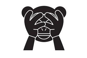 See no evil emoji black vector