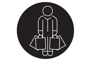 Shopper man with bags black vector