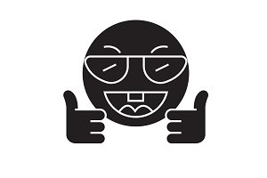 Showing ok emoji black vector
