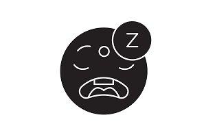 Sleeping emoji black vector concept