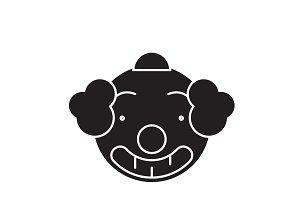 Smiling clown emoji black vector