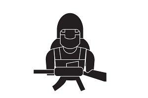 Soldier equipment black vector