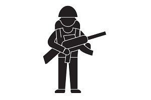 Soldier gear black vector concept